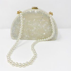Closet Rehab Bags - Acrylic Half Moon Party Box in White